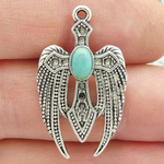 Cross Charm with Angel Wing Accents in Antique Silver Pewter and Turquoise
