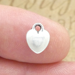 Silver Puffed Heart Charm in Pewter Small
