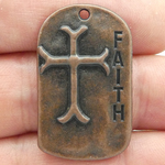 Faith Charm with Cross and Scripture in Copper Pewter Dog Tag