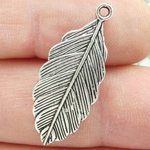 Feather Charm Pendant in Antique Silver Pewter
