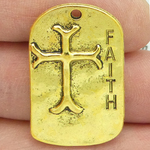 Faith Charm with Cross and Scripture in Gold Pewter Dog Tag