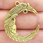 Crescent Moon Pendant Gold Pewter Large