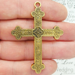 Orthodox Gold Cross Pendant in Pewter
