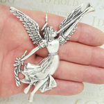 Angel with Horn Pendant Silver Pewter Learge