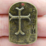 Dog Tag Cross Pendant Wholesale with Faith in Antique Bronze Pewter