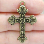 Ornate Rose Cross Pendant in Antique Bronze Pewter