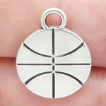 Flat Basketball Charm in Antique Silver Pewter