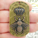 Mardi Gras Queen Bee Pendant in Bronze and Copper Pewter