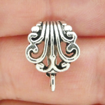 Jewelry Pendant Bails Wholesale in Antique Silver Pewter with Scroll Pattern