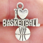I Love Basketball Charms Wholesale in Silver Pewter