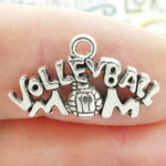 Volleyball Mom Charms Wholesale in Silver Pewter