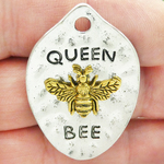 Mardi Gras Queen Bee Pendant in Gold and Silver Pewter