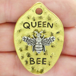 Mardi Gras Queen Bee Pendant in Silver and Gold Pewter