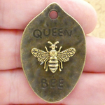 Mardi Gras Queen Bee Pendant in Gold and Bronze Pewter