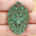 Mardi Gras Queen Bee Pendant in Bronze Pewter