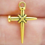 Nail Cross Charm Pendant in Gold Pewter Small
