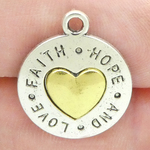 Faith Hope Love Charms Wholesale with Gold Heart in Silver Pewter