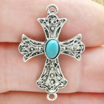 Cross Charm Bracelet Connector in Antique Silver Pewter with Turquoise Center