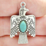 Thunderbird Charms Wholesale in Antique Silver Pewter with Turquoise