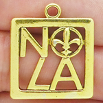 New Orleans Charm NOLA Gold Pewter Medium