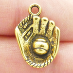 Baseball Glove Charms Wholesale Antique Gold Pewter