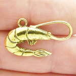 Shrimp Charms Wholesale in Gold Pewter