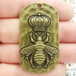 Mardi Gras Queen Bee Charms Bulk in Bronze Pewter