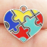 Autism Heart Puzzle Charms Wholesale Antique Silver Pewter with Enamel