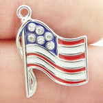 American Flag Charms Cheap Silver Pewter with Enamel and Crystal
