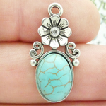 Turquoise Flower Charms Wholesale in Silver Pewter