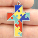 Autism Puzzle Cross Pendants Wholesale Silver Pewter with Enamel