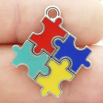 Autism Puzzle Charms Wholesale Silver Pewter with Enamel