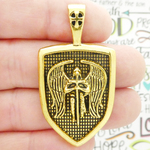 Archangel St Michael Pendant Wholesale Gold Pewter