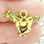 Galloping Horse Charms Wholesale in Antique Gold Pewter