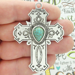 Large Turquoise Cross Pendant Wholesale in Silver Pewter