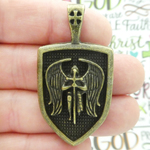 Archangel St Michael Pendant Wholesale Bronze Pewter