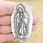 Our Lady of Guadalupe Pendant Wholesale in Antique Silver Pewter Large