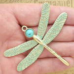 Dragonfly Pendants Wholesale in Patina Gold Pewter with Extra Large