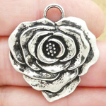 Silver Rose Charms Wholesale Pewter Medium