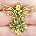 Angel Charms Bulk Gold Pewter with Ornate Dress