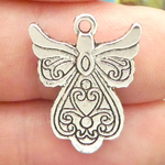 Angel Charms Bulk in Silver Pewter Double Sided