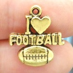 I Love Football Charms Wholesale in Antique Gold Pewter