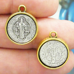St Benedict Medal in Antique Silver and Gold Pewter