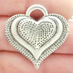 Heart Pendants Wholesale with Dimpled Pattern in Silver Pewter