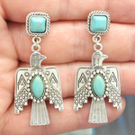 Thunderbird Earrings in Antique Silver Pewter with Turquoise