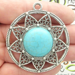 Silver Round Filigree Turquoise Pendant in Antique Pewter