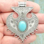 Large Silver Ornate Bali Pendant with Turquoise in Antique Pewter