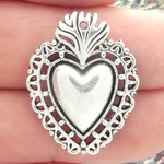 Heart Pendant in Silver Pewter with Southwest Design