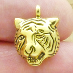 Tiger Head Charms Bulk in Antique Gold Pewter