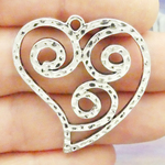 Open Heart Pendant with Scroll Design in Silver Pewter Medium